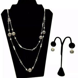 Brighton EUC Silver Long Necklace & Earring Set